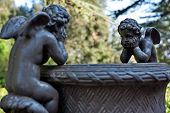 pic of cherub  - A couple of cherubs in Villa Chigi Castelnuovo Berardenga Tuscany - JPG