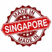 Made In Singapore Red Stamp Isolated On White Background