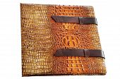 Leather expensive photo album of textured leather with buckles