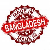 Made In Bangladesh Red Stamp Isolated On White Background