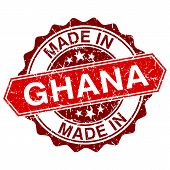 Made In Ghana Red Stamp Isolated On White Background