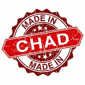 Made In Chad Red Stamp Isolated On White Background