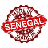 Made In Senegal Red Stamp Isolated On White Background