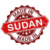 image of sudan  - made in Sudan red stamp isolated on white background - JPG