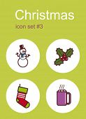 Christmas symbols icons. Set of editable vector color illustrations.