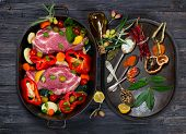 Raw Pork Meat And Fresh Vegetables, Spices