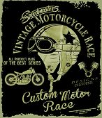 pic of driving school  - vintage race car and motorcycle for printing - JPG