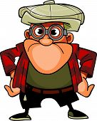 Cartoon Character Man With Glasses And A Cap, Standing In A Pose With Arms Akimbo.eps