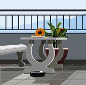 Interior Balcony, Table With Fruit Papaya And Potted Plant.eps