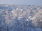 picture of snowy hill  - snowy small town in the hills of the valley - JPG