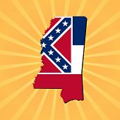 Mississippi map flag on sunburst illustration