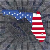 Florida map flag on dollars sunburst illustration
