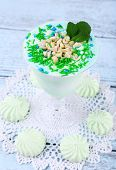 Mint milk dessert in glass bowl on color wooden background
