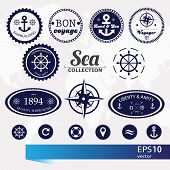 Set Of Vintage Retro Nautical Badges, Labels And Icons