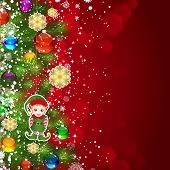 Christmas background with Christmas tree branches decorated with glass balls and toys.