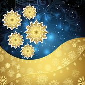 Golden snowflakes and frosty patterns on a dark blue background. Christmas background.