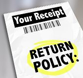 pic of receipt  - Return Policy words on a store receipt or proof of purchase to tell you how to exchange goods - JPG