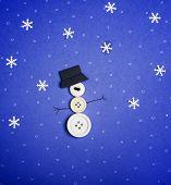 Snowman on blue background