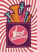 picture of wind instrument  - banner for jazz restaurant with wind instruments - JPG