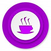 espresso icon, violet button, hot cup of caffee sign