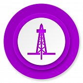 drilling icon, violet button