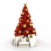 Red Christmas tree with gold decor isolated on white background
