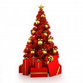 Red Christmas tree with gold decor on white background