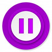 pause icon, violet button