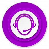 customer service icon, violet button