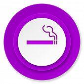 cigarette icon, violet button, nicotine sign