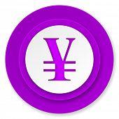 yen icon, violet button
