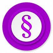 paragraph icon, violet button, law sign