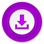 download icon, violet button