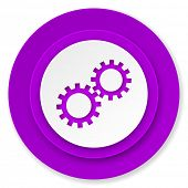gears icon, violet button, options sign