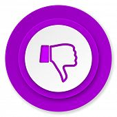 dislike icon, violet button, thumb down sign