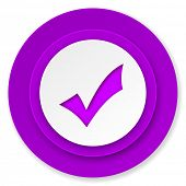 accept icon, violet button, check sign