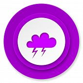 storm icon, violet button, waether forecast sign