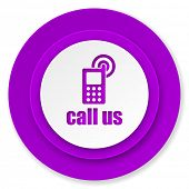 call us icon, violet button, phone sign