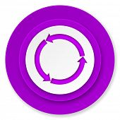 refresh icon, violet button, reload icon, violet button