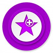 star icon, violet button, add favourite sign