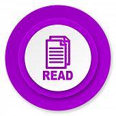 read icon, violet button