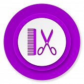 barber icon, violet button