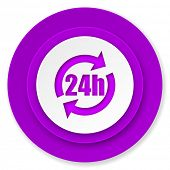 24h icon, violet button