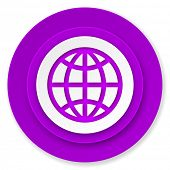 earth icon, violet button
