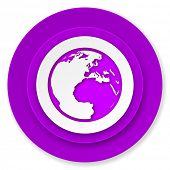 earth icon, violet button, world sign