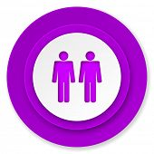 couple icon, violet button, people sign, team symbol