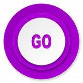 go icon, violet button