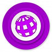 earth icon, violet button