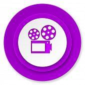 movie icon, violet button, cinema sign
