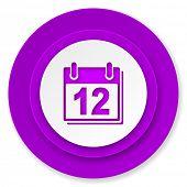 calendar icon, violet button, organizer sign, agenda symbol